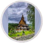 Church In Norway Round Beach Towel