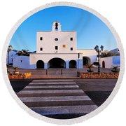 Church In Sant Josep Town On Ibiza Island Round Beach Towel
