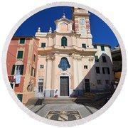 church in Sori. Italy Round Beach Towel