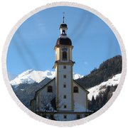 Church In The Austrian Alps Round Beach Towel
