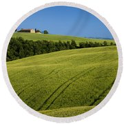 Church In The Field Round Beach Towel by Brian Jannsen
