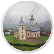 Church In The Mist Round Beach Towel