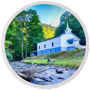 Church In The Mountains By The River Round Beach Towel