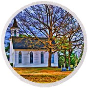 Church In The Wildwood - Paint Round Beach Towel