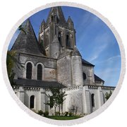 Church - Loches - France Round Beach Towel