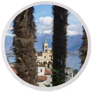 Church Madonna Del Sasso Round Beach Towel