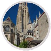 Church Of Our Lady In Bruges Round Beach Towel