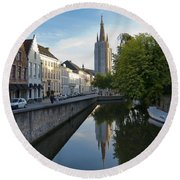 Church Of Our Lady Reflection Round Beach Towel