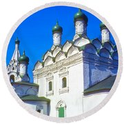 Church Of Simeon Stolpnik Round Beach Towel