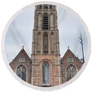 Church Of St Lawrence In Rotterdam Round Beach Towel