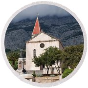 Church Of St.mark Makarska Round Beach Towel