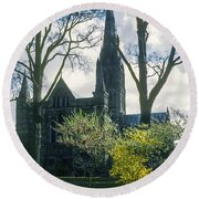 Church Of The Blessed Mary Round Beach Towel
