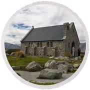 Church Of The Good Shepherd Lake Tekapo New Zealand Round Beach Towel