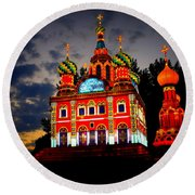 Church Of The Savior On Spilled Blood Lantern At Sunset Round Beach Towel