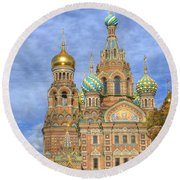 Church Of The Saviour On Spilled Blood. St. Petersburg. Russia Round Beach Towel