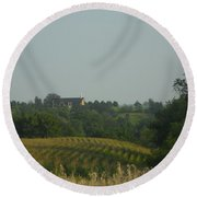 Church On A Hill Round Beach Towel