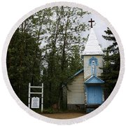 Church On Alaskan Highway Round Beach Towel