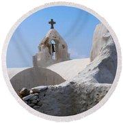 Church On Mykonos Round Beach Towel