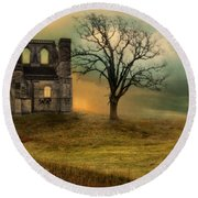 Church Ruin With Stormy Skies Round Beach Towel