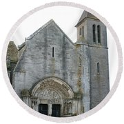 Church St Thibault- Burgundy Round Beach Towel