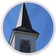 Church Steeple In Buckley Washington Round Beach Towel