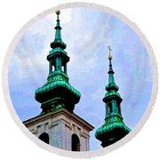 Church Steeples - Bratislava Round Beach Towel