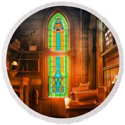 Church Vestibule Round Beach Towel