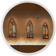 Church Windows Round Beach Towel