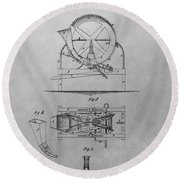 Cider Mill Patent Drawing Round Beach Towel