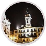Cieszyn Town Center At Night Round Beach Towel