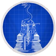 Cigar Lighter Patent 1888 - Blue Round Beach Towel