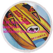 Cigarett Power Boat Illustration Round Beach Towel
