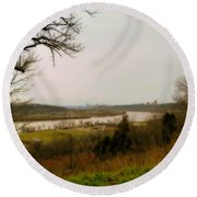 Cincinnati And The Ohio River Looking West Round Beach Towel