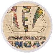 Cincinnati Bengals Logo Vintage Round Beach Towel