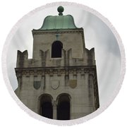 Cincinnati Church With Angel Carving And Bronze Cross Round Beach Towel
