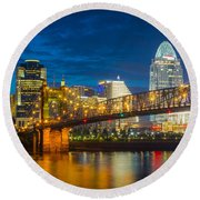 Cincinnati Downtown Round Beach Towel
