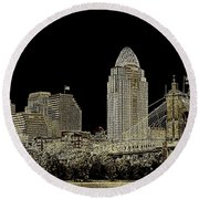 The Queen City Cincinnati Ohio Round Beach Towel