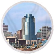 Cincinnati Panoramic Skyline Round Beach Towel