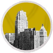 Cincinnati Skyline 2 - Gold Round Beach Towel