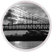 Cincinnati Suspension Bridge Black And White Round Beach Towel by Mary Carol Story