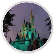 Cinderella Castle At Night  Round Beach Towel