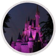 Cinderella Castle Illuminated In Pink Glow Round Beach Towel
