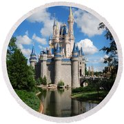 Cinderellas  Castle Round Beach Towel