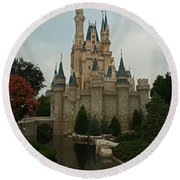 Cinderella's Castle Reflected Round Beach Towel