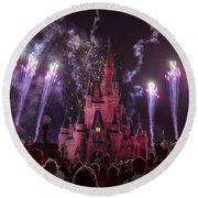 Cinderella's Castle With Fireworks Round Beach Towel by Adam Romanowicz