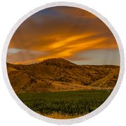 Circle Of Corn At Sunrise Round Beach Towel