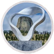 Circle Of Sacred Smoke  Round Beach Towel