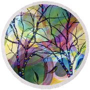 Circle Trees Round Beach Towel