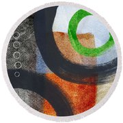 Circles 2 Round Beach Towel by Linda Woods