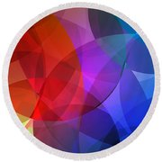Circles In Colorful Abstract Round Beach Towel